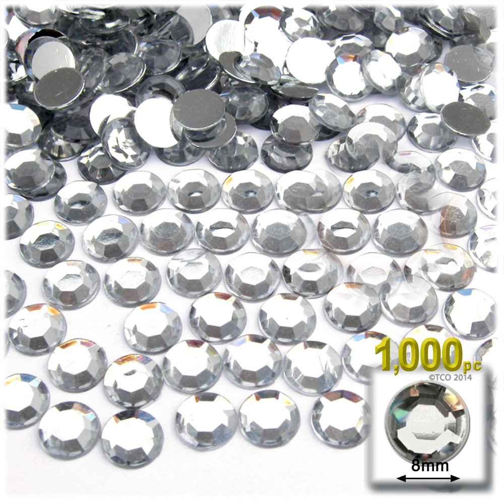 The Crafts Outlet 1000-Piece Loose Flatback Round Acrylic Phinestones, 8mm Crystal Clear by The Crafts Outlet