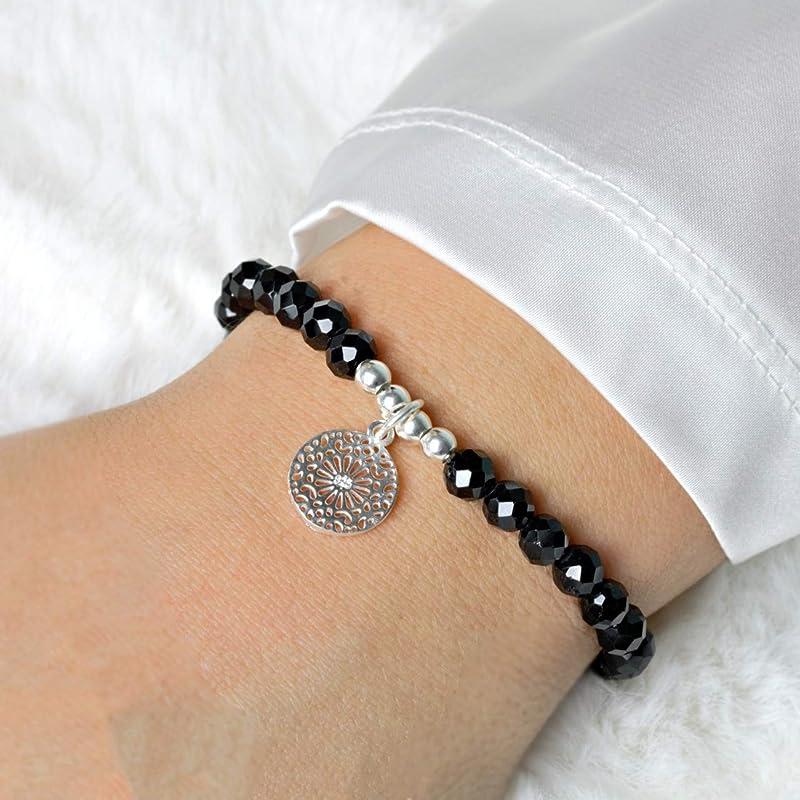 Turmalin schwarz Schörl Armband 925 Silber vergoldet Armkette Z309