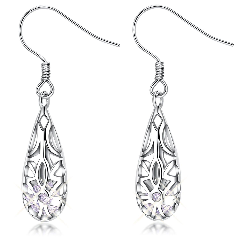 Dangle Earrings for Women Sterling Silver Vintage Filigree Teardrop Earrings