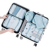 Arxus 6 Set Packing Cubes Travel Luggage Waterproof Organizers (Light Blue)