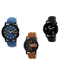 Fashion 4100 Analogue Black Dial Men's & Boy's Watch Leather Strap Combo Pack of 3