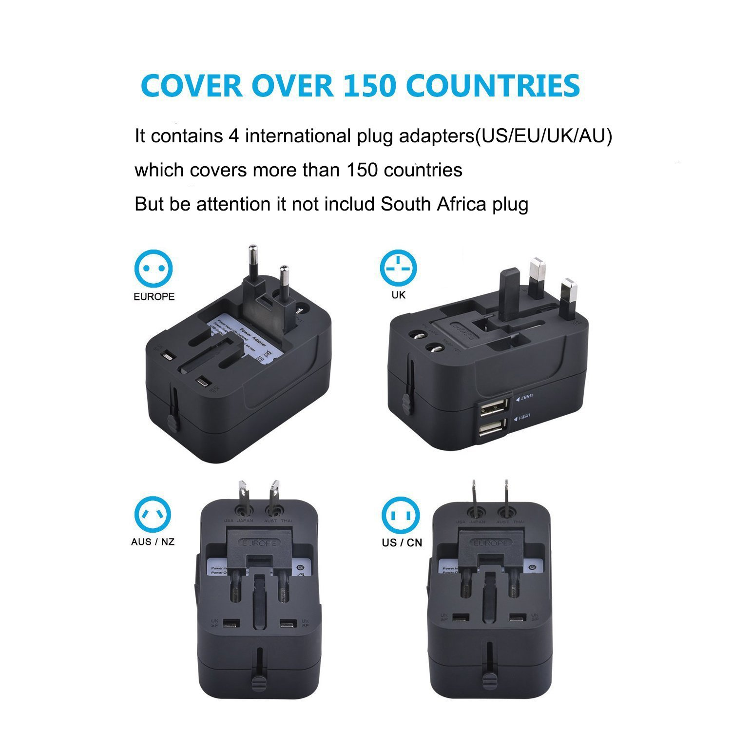 Travel Converter Adapterlaeker Universal All In One Australian Dual 3 Pin Socketoutlet Construction Worldwide Adapter Wall Charger Ac Power Plug Usb Charging Ports Usa Eu