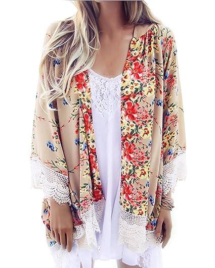 ZANZEA Verano Mujer boho hippie Floral Punta Cardigan Chaqueta Abrigo Coat Open Blusa Top: Amazon.es: Ropa y accesorios