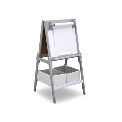 Delta Children MySize Kids Double-Sided Storage Easel -Ideal for Arts & Crafts, Drawing, Homeschooling and More, Grey : Baby