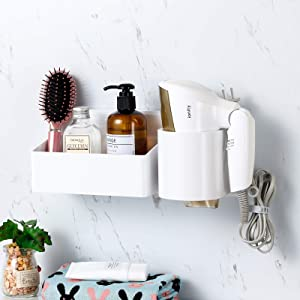 SUNSEALIVING Hair Dryer Holder Home Decor Wall Mounted Bathroom Counter Organizer Hair Care & Styling Tool Storage with Basket Adhesive Blow Dryer Rack Shower Caddy Accessories Set