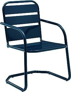 Crosley Furniture CO1030-NV Brighton Retro Metal Chair, Set of 2, Navy
