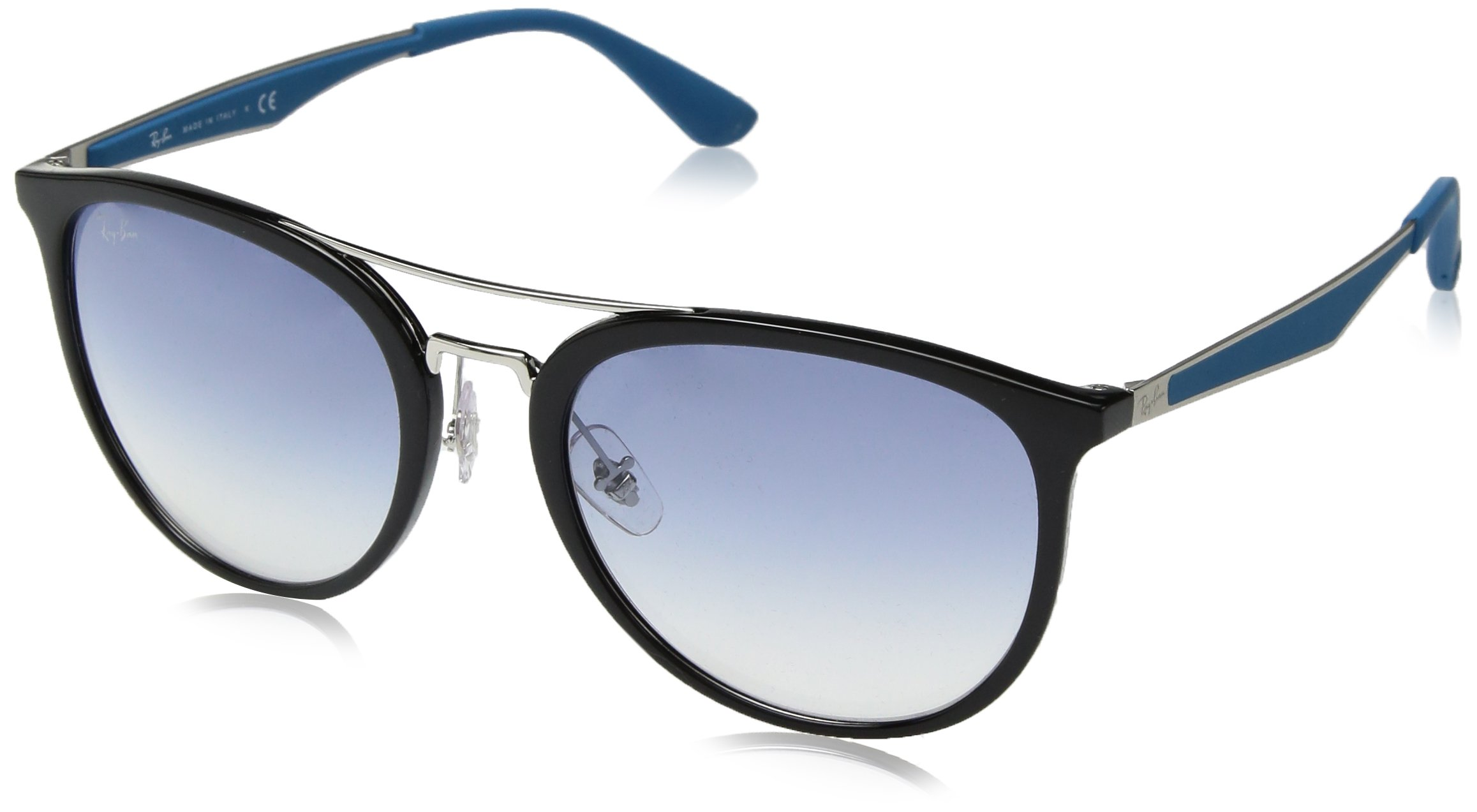 Ray-Ban RB4285 Square Sunglasses, Black/Clear Gradient Light Blue, 55 mm