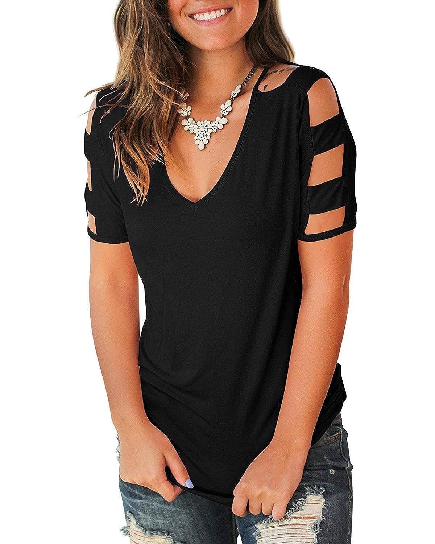 249cbd4687edc Amazon.com  Shejianke Women s Summer Short Sleeve Cut Out Cold Shoulder  Tops Deep V Neck T Shirts  Clothing