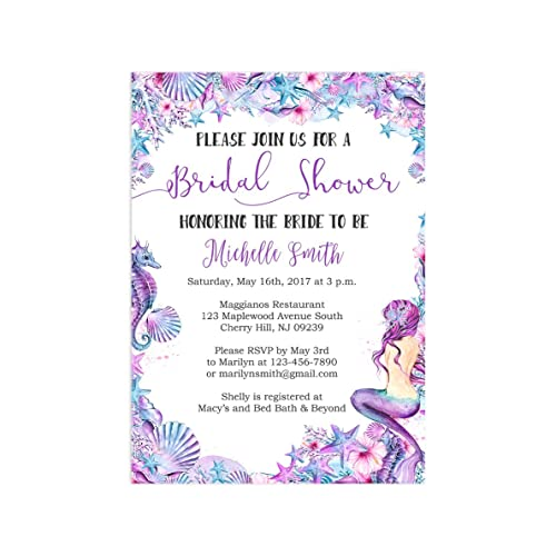 mermaid bridal shower invitations printed with envelopes