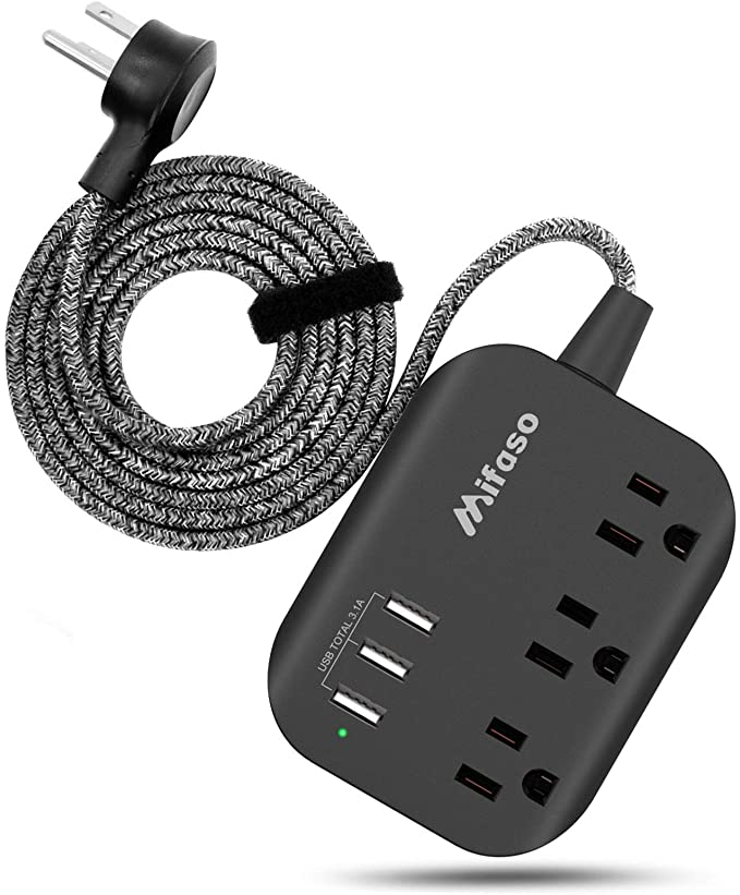 Multi Outlet Plug Mountable Surge Protector Power Strip with 3 USB Charging Port