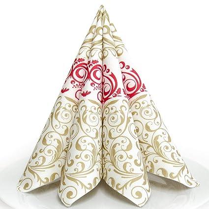 Weihnachtsdeko Für Gastronomie.Hantermann Servietten Weihnachten Rot Gold Premium Airlaid Stoffähnlich 25 Stück 40 X 40cm 1 4 Falz Hochwertige Edle Weihnachtsservietten