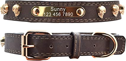 Leather Personalized Dog Collar Tag Cat Name Plate Free Engraving 7 Colors
