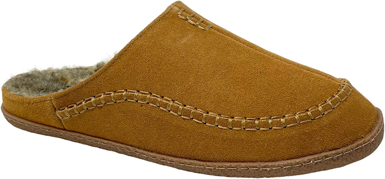 Clarks Mens Comfort Slipper Warm Plush Sherpa Lined Indoor Outdoor Genuine Leather House Slippers for Men