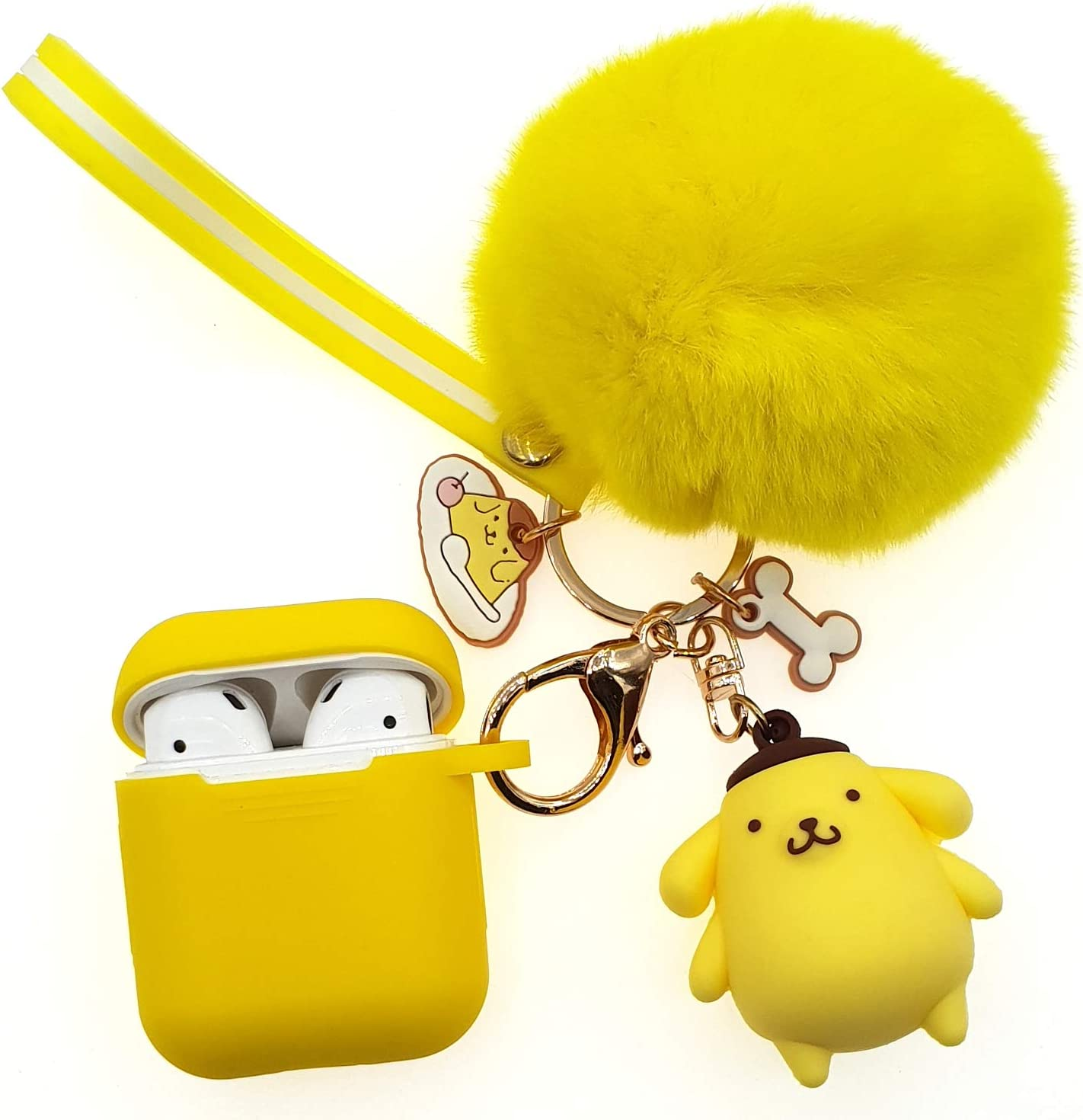 AirPods 2/1 Silicone Case, Adorable Replacement for Airpod Case Drop Proof (Silicone Skin and Cover for Apple Headphone Charging Case 2/1) with Fluffy Fur Ball Cute Cartoon Pets Keychains