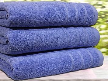 Juego de 3 toallas de baño, algodón egipcio de 550 g/m², tamaño extragrande, algodón, azul, 3 Bath Towel: Amazon.es: Hogar