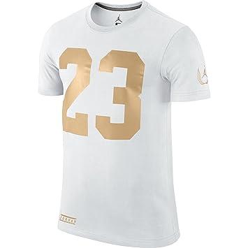 0448a37a18c2cc Jordan 23 Icon Men s T-Shirt White Gold 642467-101 (Size L)