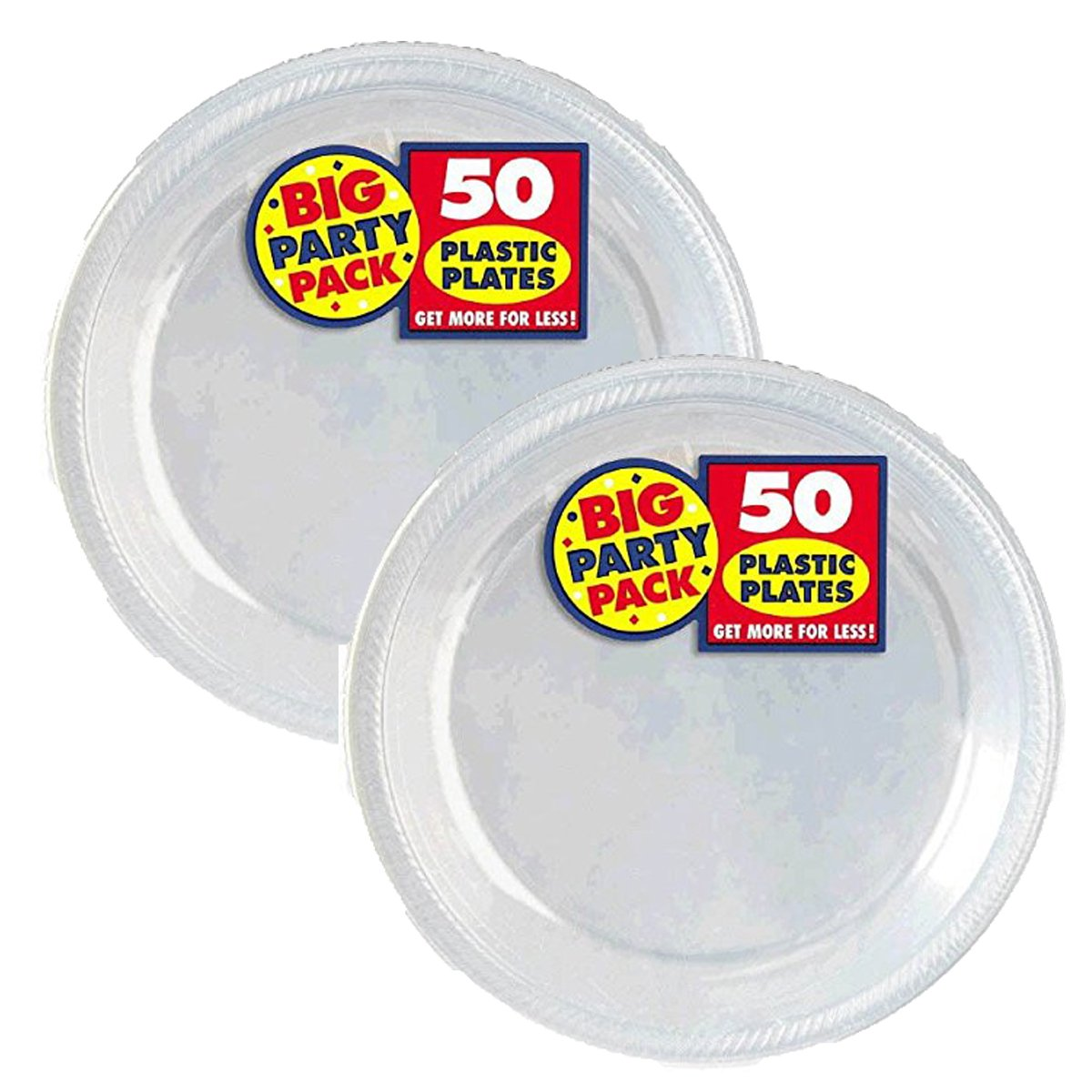 Amscan Big Party Pack Plastic Lunch Plates, 10.5-Inch, Clear, 100 Count by Amscan