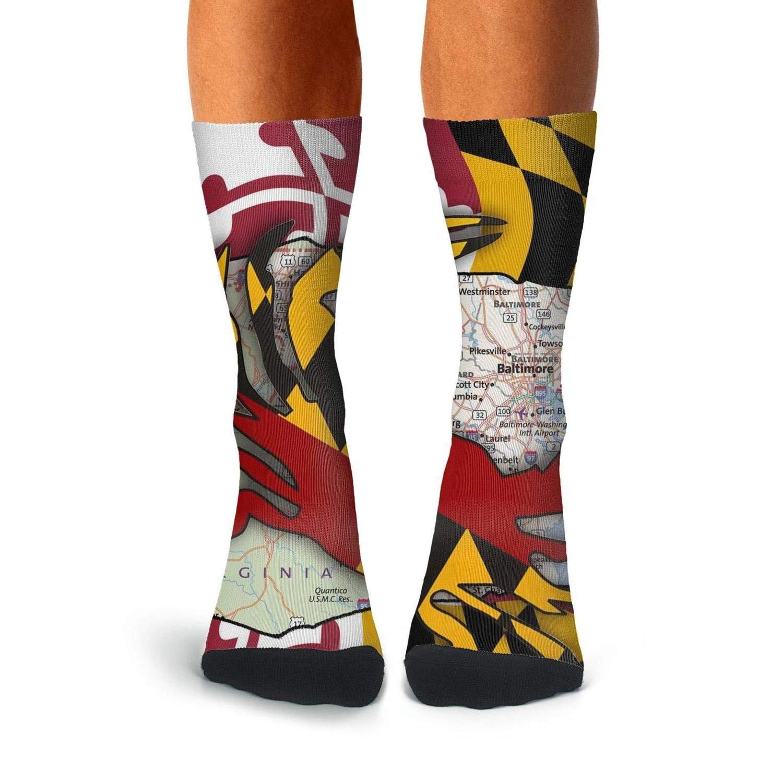 KCOSSH Maryland State map flag crab Funny Crew Socks Print Calf Sock for Mens