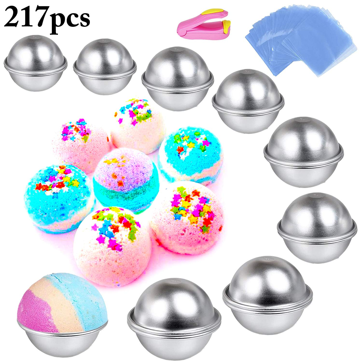Bath Bomb Mold, Outgeek 217Pcs DIY Bath Bomb Kit Include Metal Bath Bomb Mold 8 Set 16 Pieces 5 Size, 200 Shrink Wrap Bags, Mini Heat Sealer for Bath Bombs Making & Soaps by Outgeek (Image #1)
