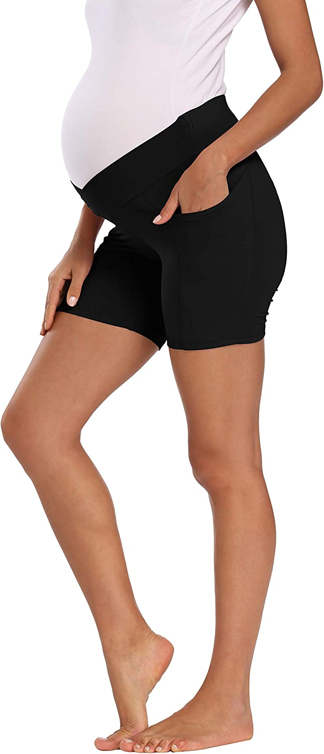 Foucome Womens Maternity Yoga Short Over Bump Workout Running Athletic Pants