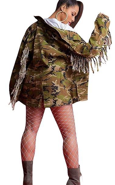 Abrigos Mujer Camuflaje Impresión Chaquetas Otoño Primavera Manga Larga De Solapa Sencillos con Ocasional Anchos Borlas