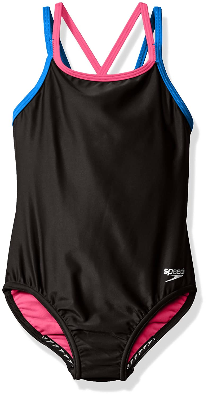 Speedo Girls Crossback One Piece Swimsuit, Size 7, Speedo Black 7714705
