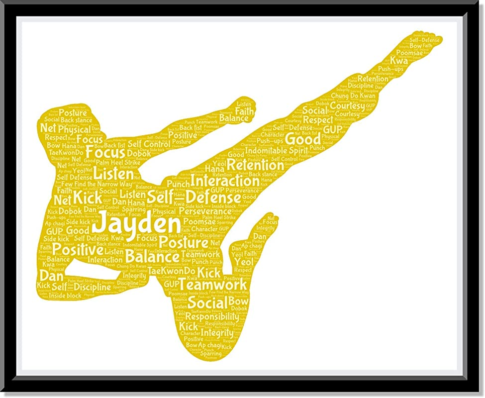 Karate Poster Boys Wall Art, Personalized Mens Martial Arts Print Decor, Kung Fu gifts for him, Birthday Gifts for boys, Word Art Typography Man Fighting Pose, Custom Print for Wall Decor…