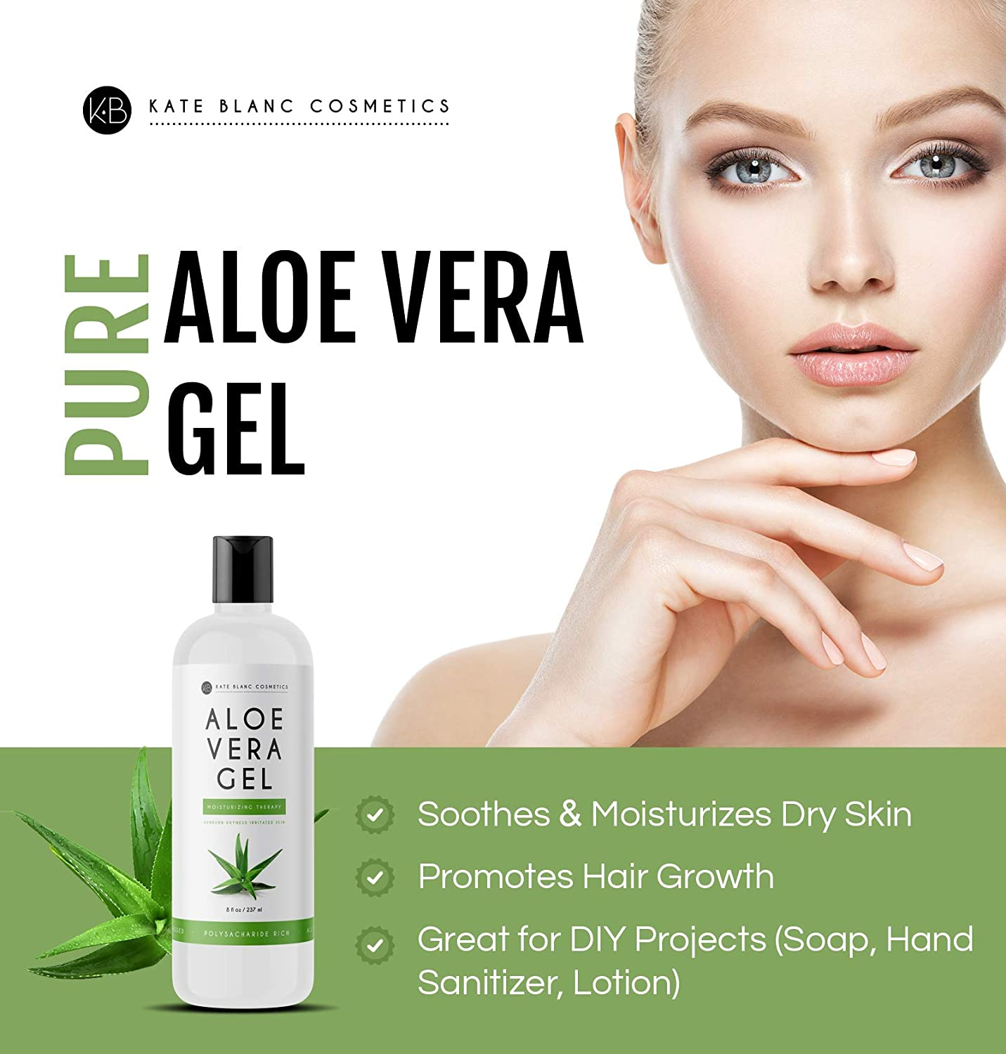 Amazon Com Aloe Vera Gel For Moisturizing Skin Hair By Kate Blanc Cosmetics Made From Freshly Cut Organic Pure Aloe Plant 8oz Original Beauty