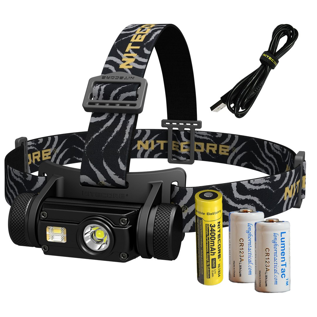 Nitecore HC65 1000 Lumen USB Rechargeable Headlamp with White/Red/High CRI Outputs and 2X CR123A Lumen Tactical Batteries by Nitecore