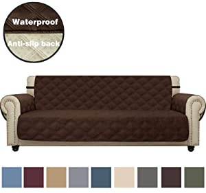CHHKON Sofa Cover Waterproof with Anti-Skip Dog Paw Print 100% Quilted Furniture Protector Sofa Slipcover for Children, Pets for Leather Couch (Chocolate, XL Sofa)