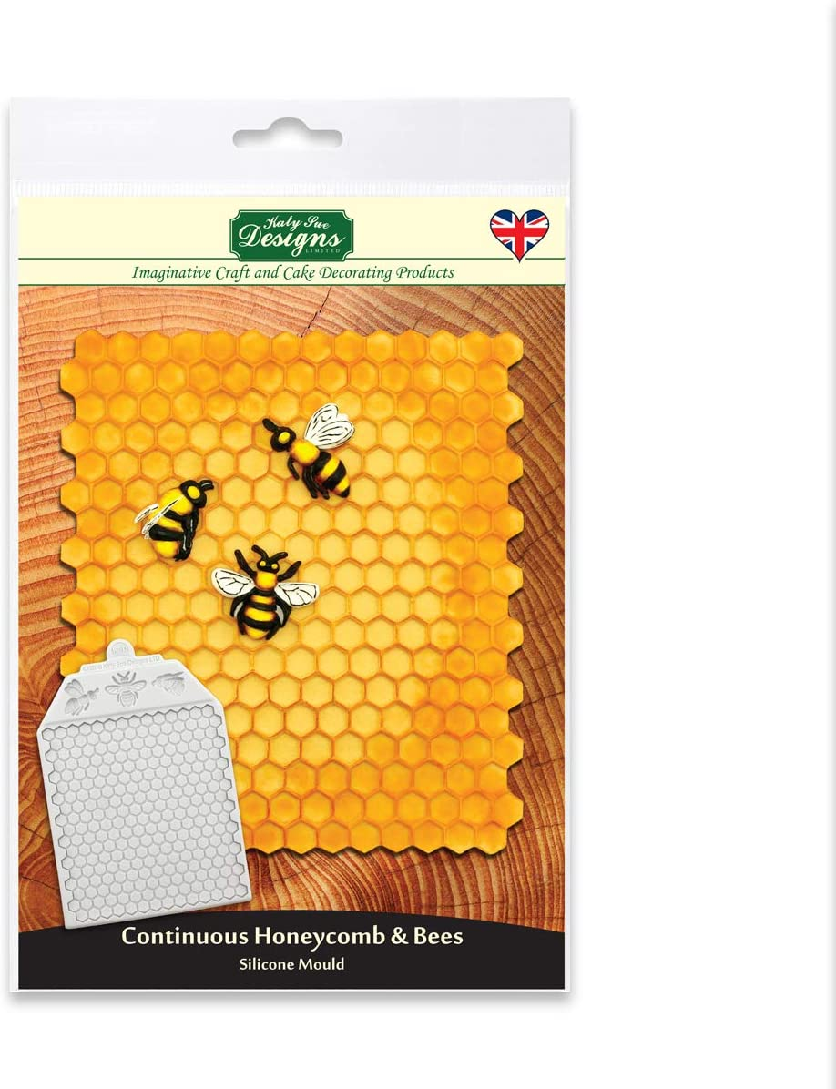 Continuous Honeycomb and Bees Textured Silicone Mold Design Mat for Cake Decorating, Crafts, Cupcakes, Sugarcraft, Candies, Cards and Clay, Food Safe Approved, Made in The UK