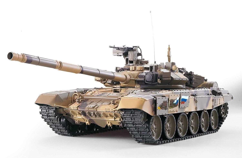 Tritow Simulaci/ón de Tanque RC de Alta Velocidad Rusia T90 Heng Largo 1:16 con Sonido de Humo y Engranaje de Acero 2.4G Juguetes for ni/ños de Gran tama/ño Regalo de Tanques de Carreras controlados por