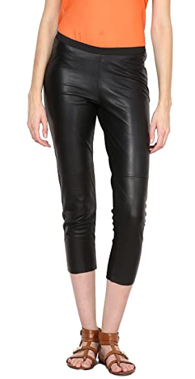 Buy Aditi Wasan Genuine Leather Black Solid Capri with Jersy ...