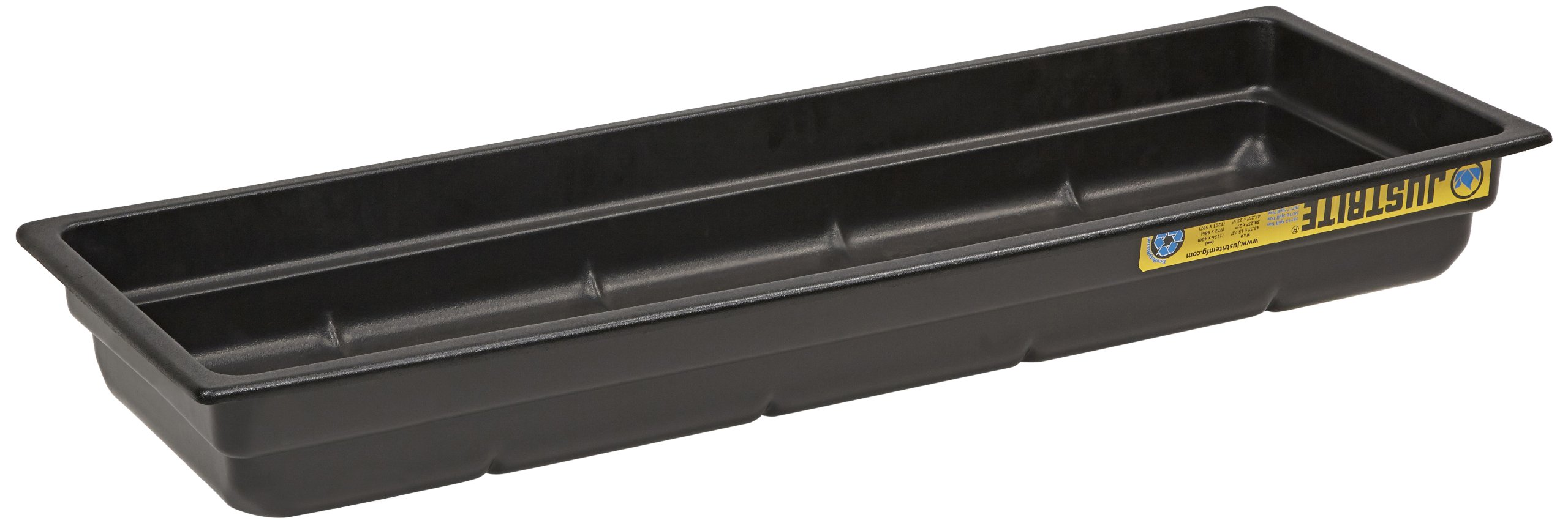 Justrite 28715 EcoPolyBlend Polyethylene Spill Tray, 46'' Width x 5-1/2'' Height x 16'' Depth, Green