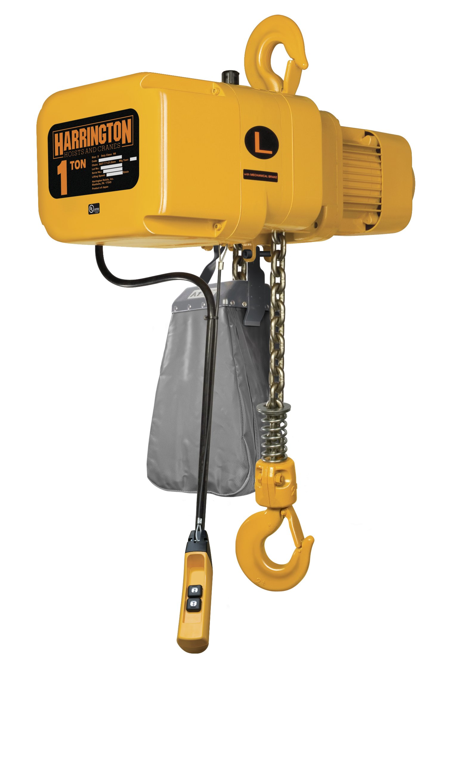 Harrington NER Single Speed Electric Chain Hoist, Three Phase, Hook Mount, 1 Ton Capacity, 10' Lift, 14 fpm Max Lift Speed, 1.2 HP, 16.9'' Headroom, 1.2'' Hook Opening, 208/230/460V