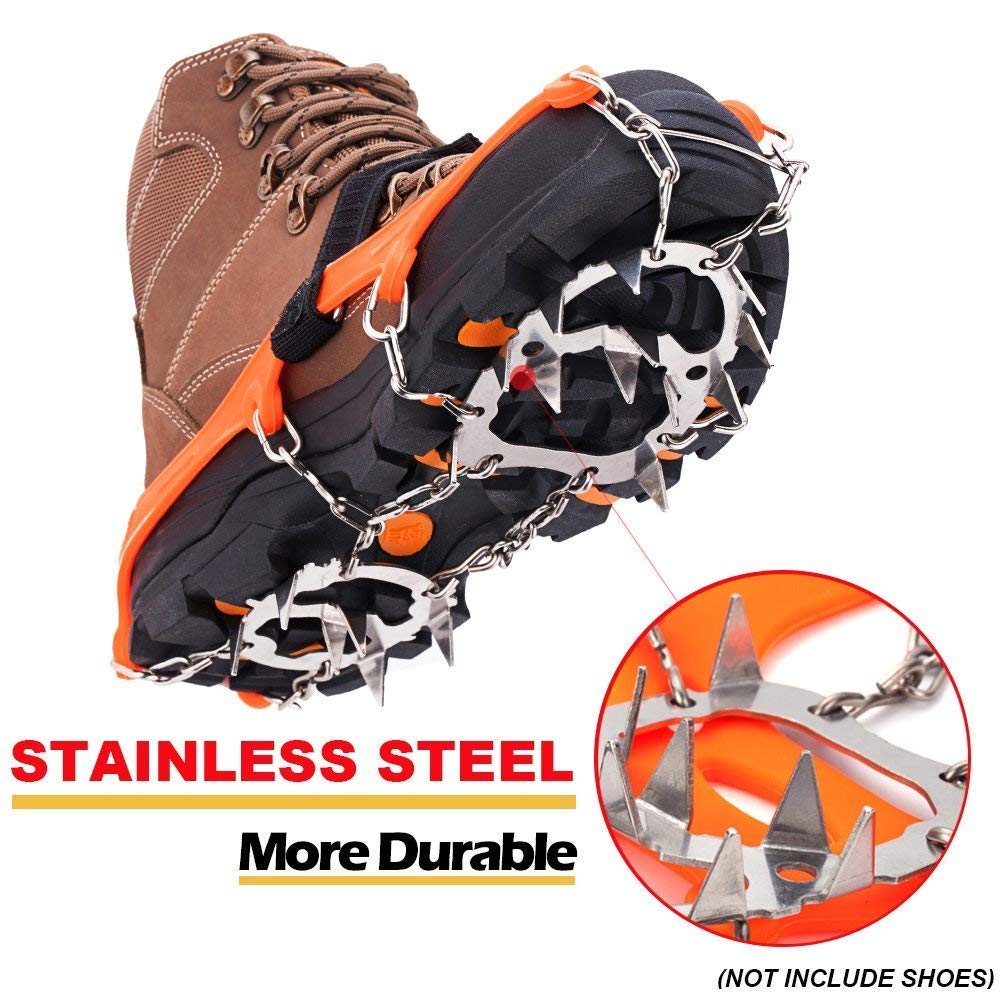 Ice Snow Grips Snow Traction Cleats with 12 Stainless Steel Spikes for Hiking On Ice&Snow Ground,Mountain
