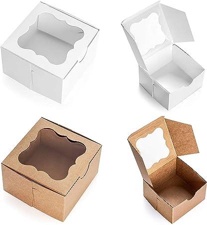 California Containers Caja de panadería con ventana 4X4X2.5 Blanco: Amazon.es: Hogar