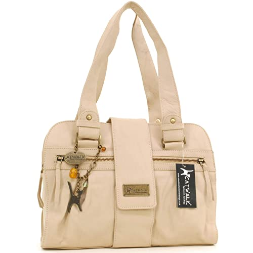 CATWALK COLLECTION - ZARA - Bolso de mano - Cuero - Biscuit (Blanco roto)