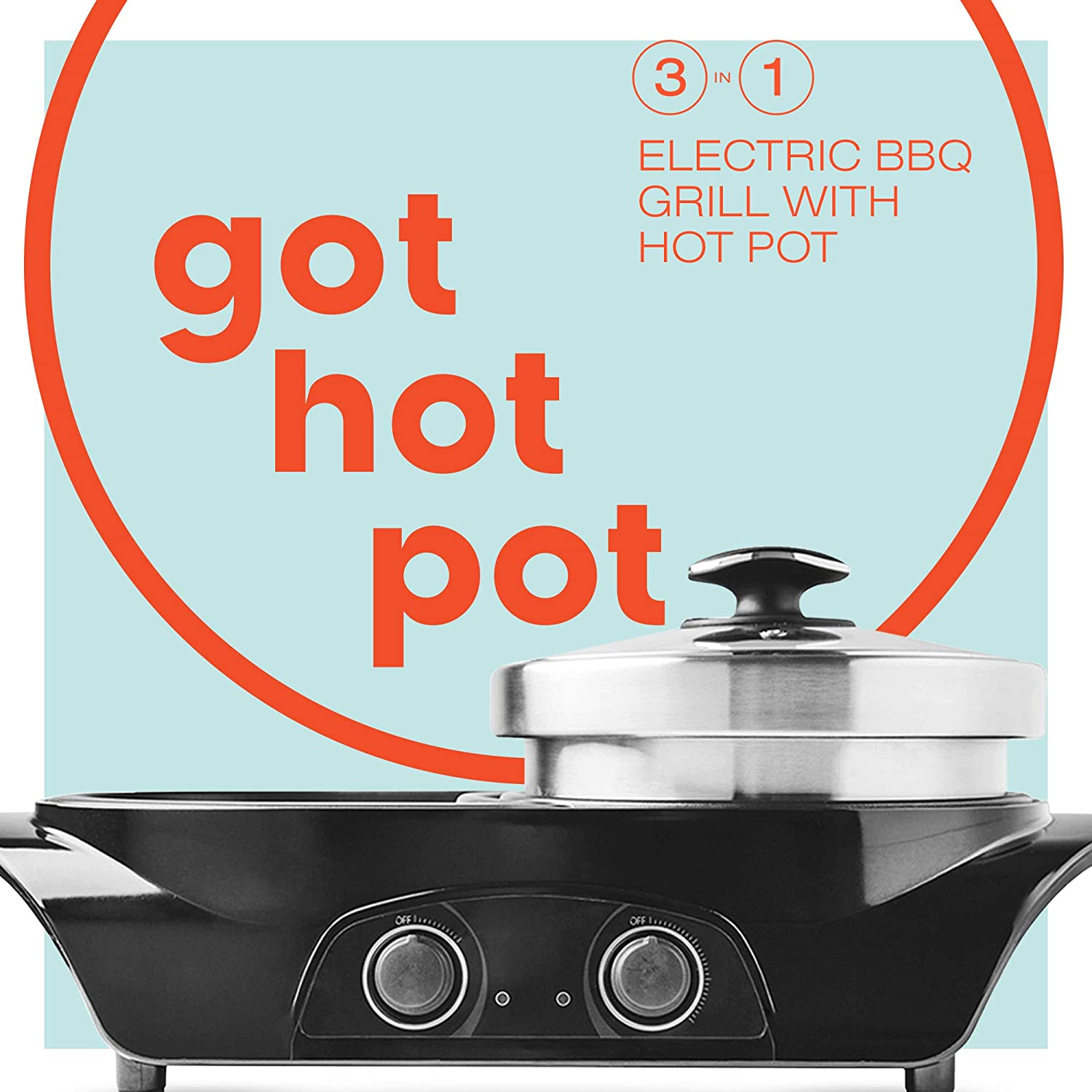 GOT HOT POT 3-in1 Electric Indoor Shabu Shabu Hot Pot with Bbq Grill | Interchangeable Stainless Steel Hot Pot Cooker or Frying Pan and a Non Stick Korean Bbq Teppanyaki Grill | Dual Heating Control GHP2400