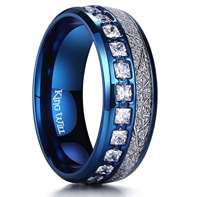 ab75ca7ee2115 King Will Meteor Men's 8mm Titanium Rose Gold/Silver/Blue Domed Imitated  Meteorite Wedding Band Cubic Zirconia