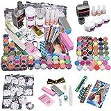 Ularma 42 acrylique Nail Art Tips poudre liquide pinceau Glitter Clipper Primer fichier défini Kit
