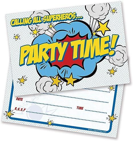 Pack of 10 Includes Envelopes Ruby Ashley Boys /& Girls Birthday Party Invitations