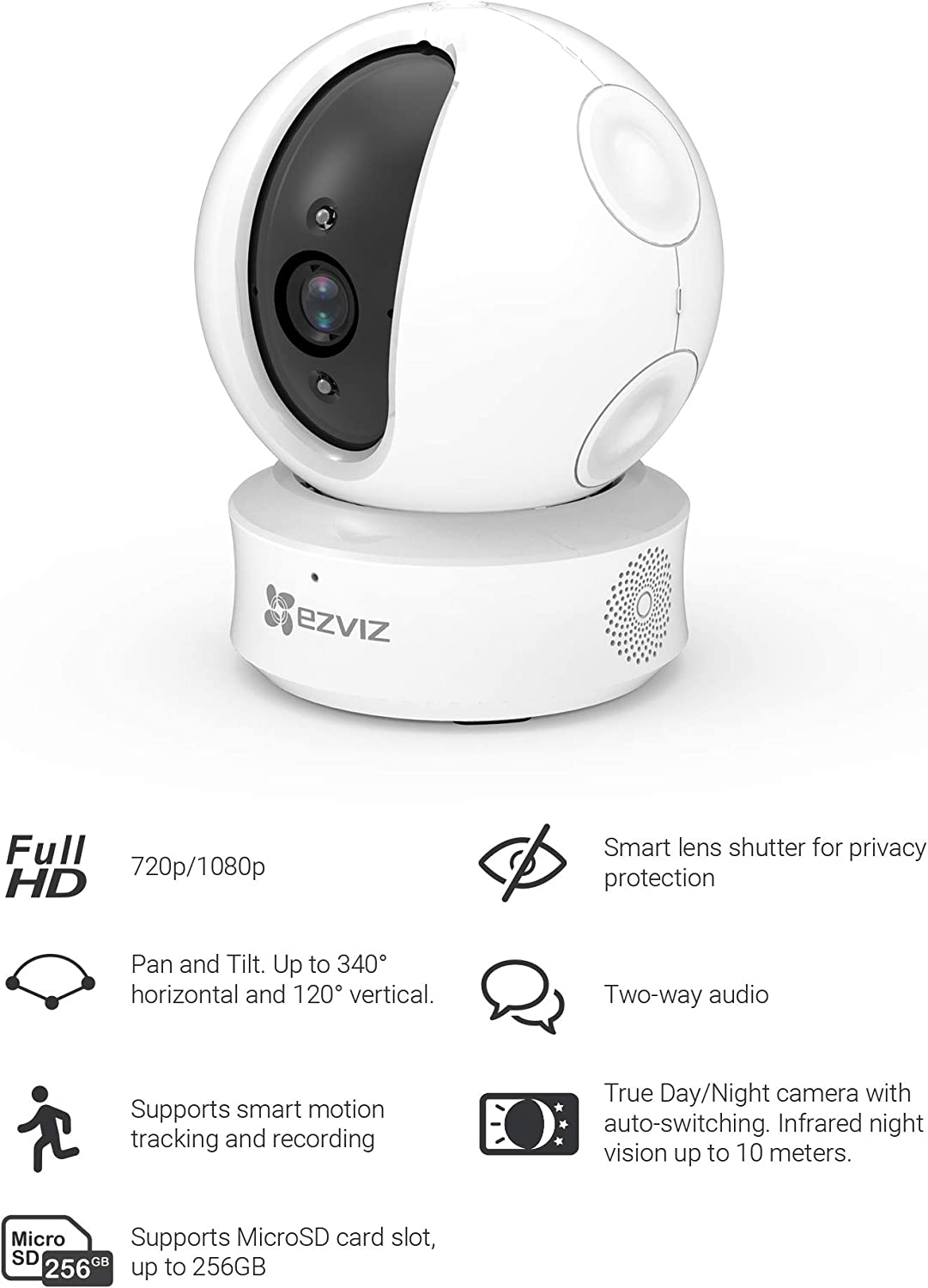 EZVIZ C6C 720p Indoor Pan//Tilt WiFi Security Camera 360/° Full Room Coverage Auto Motion Tracking Two-Way Audio Clear Night Vision up to 30ft 2.4GHz WiFi