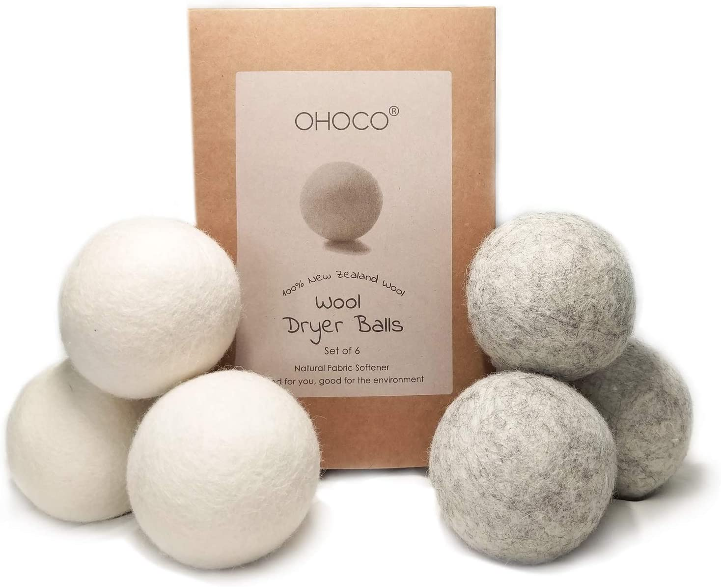 OHOCO Wool Dryer Balls, Organic Natural Wool for Laundry, Fabric Softening - Anti Static, Baby Safe, No Lint, Odorless and Reusable 6Pack, 3 Gray 3 White