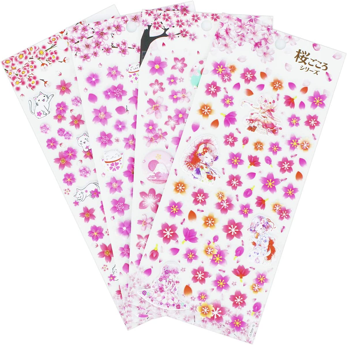 Foam Sakura Stickers 4 Sheets with Mount Fuji Cats Geisha and Kinds of Japanese Cherry Blossoms Stickers Decals Pink - 240 Pieces