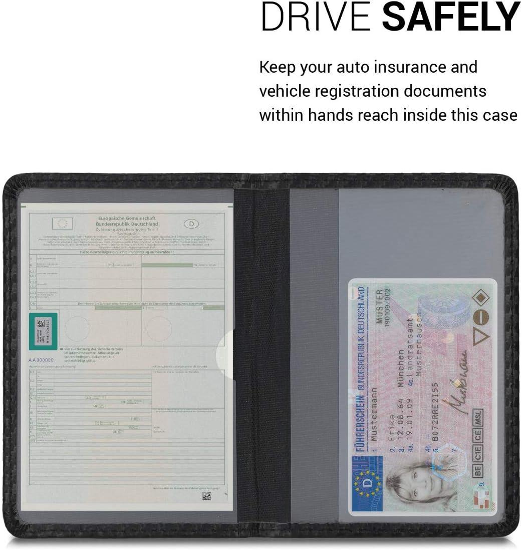 Foderina Porta Documenti kwmobile Custodia in Eco-Pelle PU per Libretto Circolazione Auto Portalibretto con Scomparti per Tessere Patente Carbone