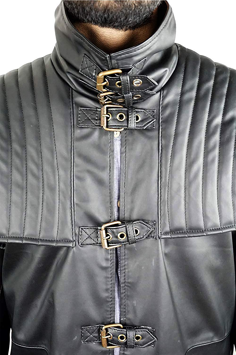 MK988 Mens Stand Collar Slim Fit Plus Size Full Zip Pu Leather Moto Biker Jacket Coat