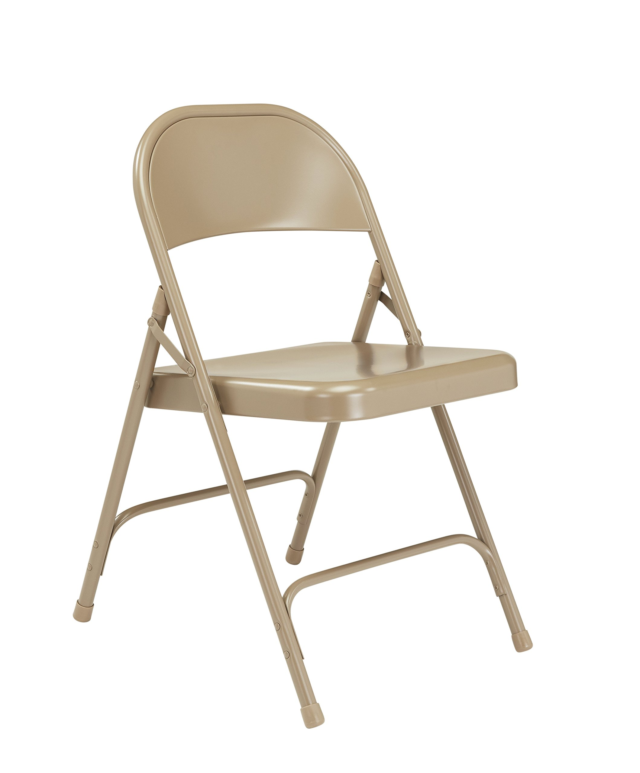 National Public Seating 50 Series All Steel Standard Folding Chair with Double Brace, 480 lbs Capacity, Beige (Carton of 4) by National Public Seating