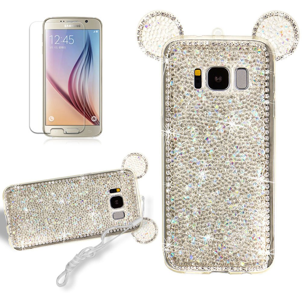 Cartoon Mouse Ears Case for Samsung Galaxy S8, Girlyard Bling Glitter Design Lovely Cover ULtra Slim Flexible Silicone GEL Manual 3D Back Cover with Neck Strap Lanyard-- Hot Pink