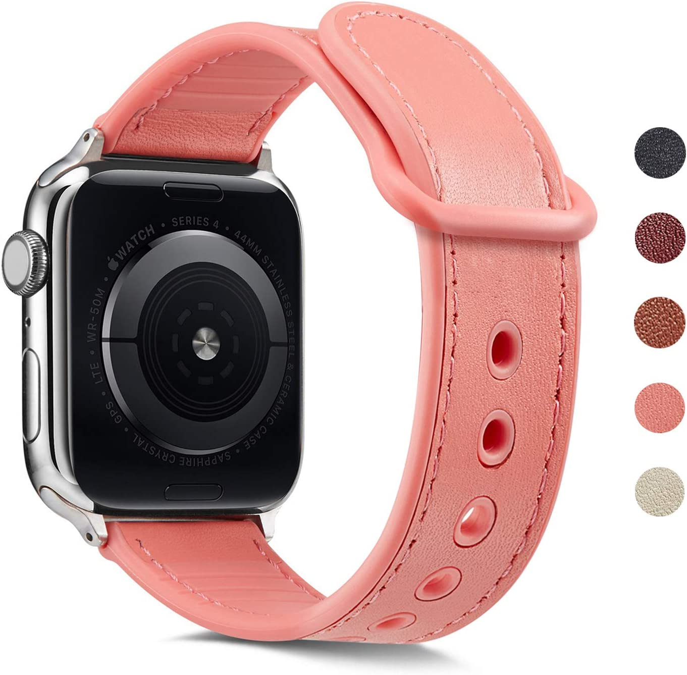Erwubala Sport Watch Band Compatible with Apple Watch Band 38mm 40mm 42mm 44mm,Genuine Leather+Premium TPU Replacement Sport Strap iWatch Band for Apple Watch Series 5/4/3/2/1 (Rose Pink, 38mm/40mm)